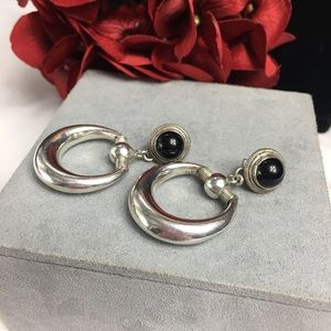 Sterling Silver & Onyx Horsebit Earrings